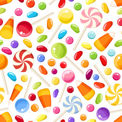 Seamless background with Halloween candies. Vector illustration.