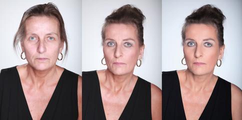 Vorher Nachher einer Frau mit tollem Make Up Styling