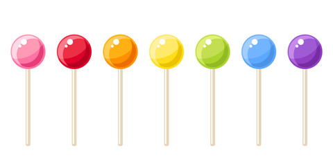 Set of colorful lollipops. Vector illustration.
