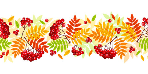 Horizontal seamless background with autumn rowan branches.