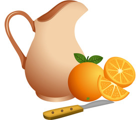 Clay jug with oranges