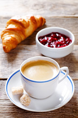 fresh Breakfast with croissant, espresso and jam