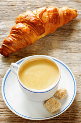 fresh Breakfast with croissants and espresso