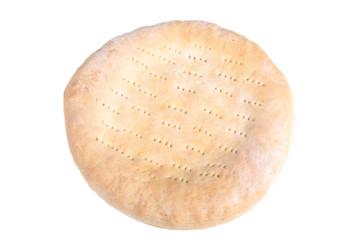 Traditional Uzbek bread handmade isolated on white background. S