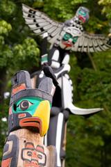 totem poles in Stanley Park, Vancouver, BC