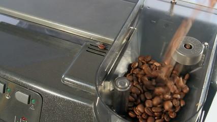 coffee beans falling