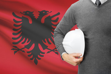 Architect with flag on background  - Albania