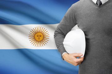 Architect with flag on background  - Argentina