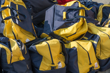 Group of disordered modern sport bag