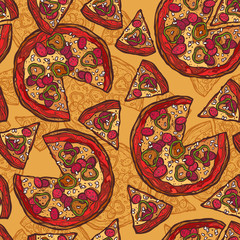 Pizza sketch seamless pattern