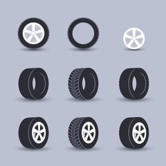 Tire icon set