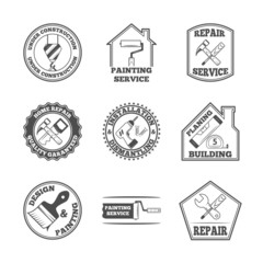 Home repair tools labels icons