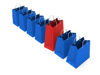 Red shopping bag in a row of blue bags