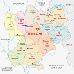 rhone-alpes administrative map