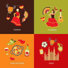 Spain icons composition set