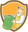 Garbage Collector Carrying Bin Shield Cartoon