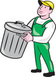 Garbage Collector Carrying Bin Cartoon