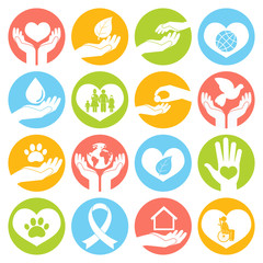 Charity and donation icons white