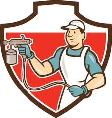 Painter Spray Gun Spraying Shield Cartoon
