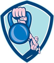 Weightlifter Lifting Kettlebell Shield Cartoon