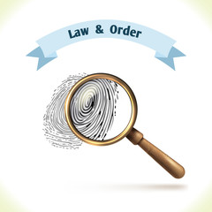 Law icon fingerprint under magnifier