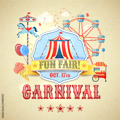 Papiers peints Attraction parc Vintage carnival poster