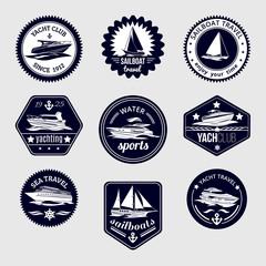 Sailboats travel labels icons set