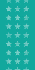 Stars textile textured green vertical seamless pattern