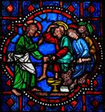 Jesus washing feet of Saint Peter on Maundy Thursday