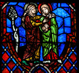 The Visitation Stained Glass in Cathedral of Tours, France - 70688384