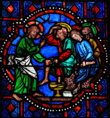 Jesus washing feet of Saint Peter on Maundy Thursday