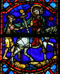 Saint Martin cuts a piece of his cloak - Stained Glass in Tours