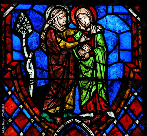 Zdjęcia na płótnie, fototapety, obrazy : The Visitation Stained Glass in Cathedral of Tours, France