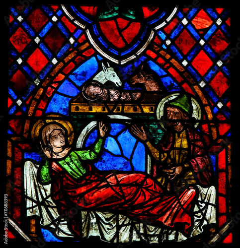 Zdjęcia na płótnie, fototapety, obrazy : Nativity Scene Stained Glass in Tours Cathedral