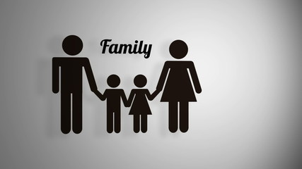 Family icon on white background animation