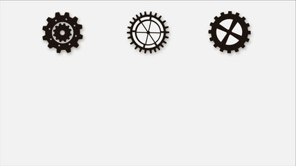people and industry wheel icons on white background, animation
