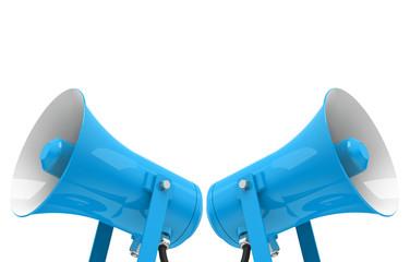 the blue megaphones