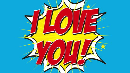i love you animation on blue background, pop art style