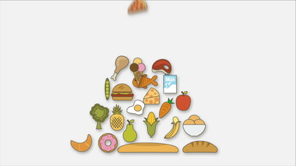 Pyramid Food on white background, Animation