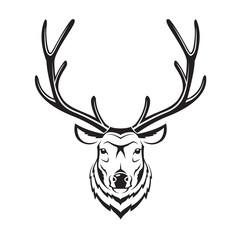 monochrome image of an deer head