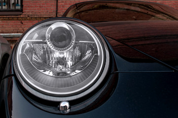 Car headlights. Exterior detail.