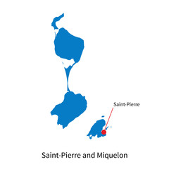 Vector map of Saint-Pierre and Miquelon with capital city