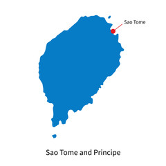 Vector map of Sao Tome and Principe with capital city