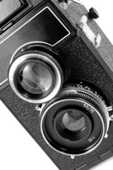 old twin reflex camera on white background