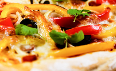 close-up of fresh baked pizza