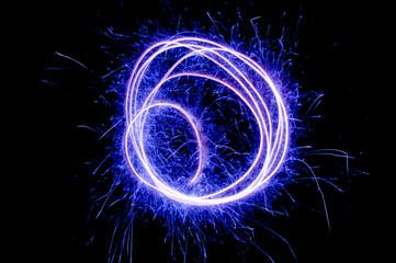 light streaks blue circle abstract