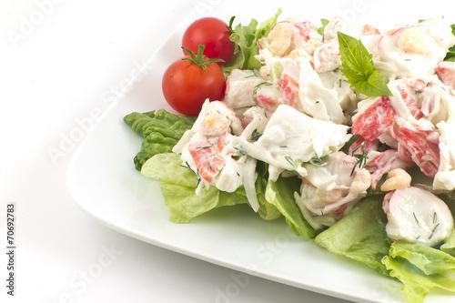 Fotobehang Salade Mayonnaise Seafood Salad
