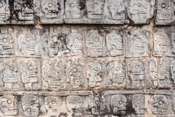 ancient wall in Chichen Itza temple, Mexico