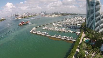 Miami Beach marina aerial view