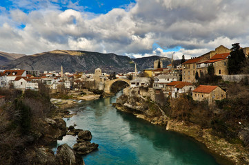 Mostar Old Town View with Rebuilt Old Bridge